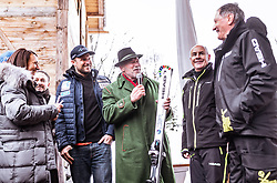 26.01.2019, Rasmushof Alm, Kitzbühel, AUT, FIS Weltcup Ski Alpin, Pressekonferenz, Arnold Schwarzenegger präsentiert eigenen Ski im Stil seines R20 Austrian World Summit, im Bild v.l.: Aksel Lund Svindal (NOR), Arnold Schwarzenegger, Franz Klammer (AUT), Johan Eliasch (CEO Head), Franz Klammer (AUT) // f.l.: Aksel Lund Svindal (NOR) Arnold Schwarzenegger Franz Klammer (AUT) Johan Eliasch (CEO Head) Franz Klammer (AUT) during a press conference, Arnold Schwarzenegger presents own skis in the style of his R20 Austrian World Summit at the Rasmushof Alm in Kitzbühel, Austria on 2019/01/26. EXPA Pictures © 2019, PhotoCredit: EXPA/ JFK
