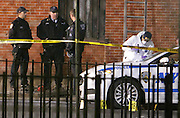 20 December-New York, NY: Visuals at the scene of where two NYPD Police Officers were shot and killed on December 20, 2014 in the Bedford Stuyvesant section of Brooklyn. NYPD Officers Wenijan Liu and Raphael Ramos were ' shot and killed with no warning, no provocation execution style ' according to NYPD Commissioner William Bratton. The suspect, identified as Ismaayil Brinsley, allegedly ran into a nearby subway with police in chase, run onto the platform and committed suicide. It is believed earlier during the day, he shot and killed his girlfriend in Baltimore, Maryland several hours earlier.   (Photo by Terrence Jennings/terrencejennings/com)