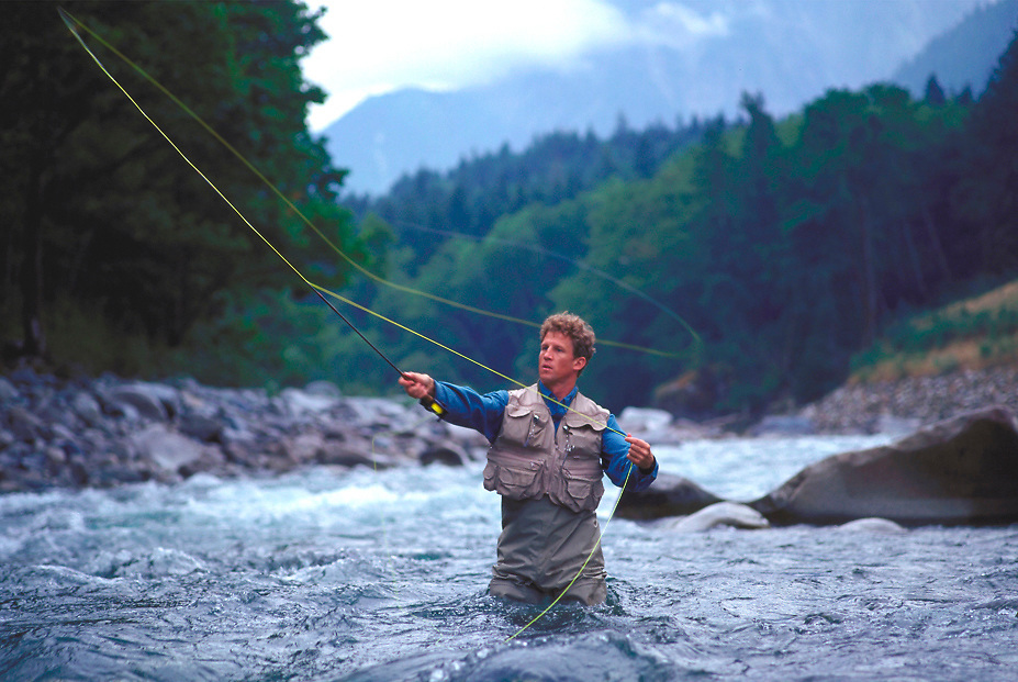 Fly Fishing in the Snoqualmie River, Washington.
