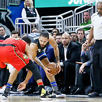 25 February 2017: Atlanta Hawks forward Thabo Sefolosha (25) defends on Orlando Magic guard Evan Fournier (10) during the Orlando Magic 105-86 victory over the Atlanta Hawks, at the Amway Center, Orlando, Florida, USA.