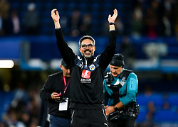 Huddersfield Town manager David Wagner celebrates after the game ends 1-1 giving Huddersfield Town the point needed to keep them in the Premier League and relegate Swansea City - Rogan/JMP - 09/05/2018 - FOOTBALL - Stamford Bridge - London, England - Chelsea v Huddersfield Town - Premier League.