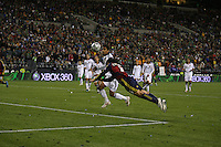SEATTLE - NOVEMBER 22: Fabian Espindola #16 of Real Salt Lake  of Real Salt Lakeheads the ball against the Los Angeles Galaxy . Real Salt Lake defeats Los Angeles Galaxy in the MLS Cup final at Qwest Field on November 22, 2009 in Seattle, Washington. (Photo by Tom Hauck)