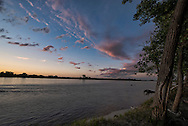 Yellowstone River, sunset, storm clouds, east of Fairview Montana, near its confluence with the Missouri River
