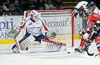 KELOWNA, CANADA, DECEMBER 7:  Damien Ketlo #31 of the Lethbridge Hurricanes defends the net against the Kelowna Rockets on December 7, 2011 at Prospera Place in Kelowna, British Columbia, Canada (Photo by Marissa Baecker/Getty Images) *** Local Caption ***