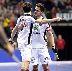 BERLIN - Indoor Hockey World Cup<br /> Quarterfinal 2: Austria - Poland<br /> foto: EITENBERGER Sebastian and Xaver Hasun.<br /> WORLDSPORTPICS COPYRIGHT FRANK UIJLENBROEK