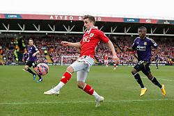 Joe Bryan of Bristol City clears from Enner Valencia of West Ham - Photo mandatory by-line: Rogan Thomson/JMP - 07966 386802 - 25/01/2015 - SPORT - FOOTBALL - Bristol, England - Ashton Gate Stadium - Bristol City v West Ham United - FA Cup Fourth Round Proper.