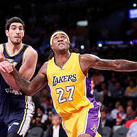19 October 2014: Los Angeles Lakers forward Jordan Hill (27) vies for the rebound with Utah Jazz center Enes Kanter (0) during the Los Angeles Lakers 98-91 victory over the Utah Jazz, in a preseason game, at the Staples Center, Los Angeles, California, USA.