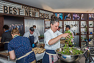 The Best New Chefs booth inside the grand tasting tent at the Food & Wine Classic in Aspen.