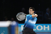 Novak Djokovic during the final of the ATP World Tour Finals between Roger Federer of Switzerland and Novak Djokovic at the O2 Arena, London, United Kingdom on 22 November 2015. Photo by Phil Duncan.