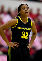 February 18, 2010; Stanford, CA, USA;  Oregon Ducks guard Nia Jackson (32) during the first half against the Stanford Cardinal at Maples Pavilion. Stanford defeated Oregon 104-60.