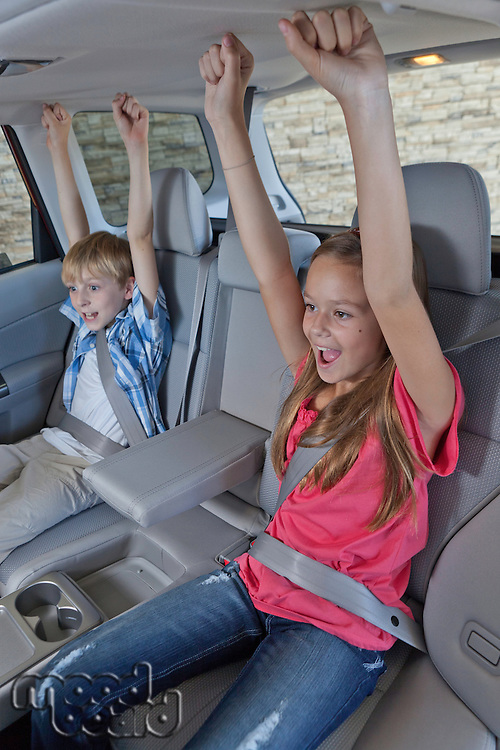 Cheerful children sitting at the back seat of car