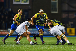 Gethin Jenkins of Cardiff Blues is tackled by Florian Verhaeghe of Toulouse - Mandatory by-line: Craig Thomas/JMP - 14/01/2018 - RUGBY - BT Sport Cardiff Arms Park - Cardiff, Wales - Cardiff Blues v Toulouse - European Rugby Challenge Cup