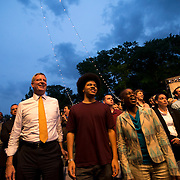 June 4, 2014 - New York, NY : <br /> Janelle Monáe (not pictured) kicked off the 2014 season's innaugural Celebrate Brooklyn! concert in Prospect Park on Wednesday night. New York City Mayor Bill de Blasio, center left, attends the concert with his son, Dante, center, and wife Chirlane McCray, center right. <br /> CREDIT: Karsten Moran for The New York Times