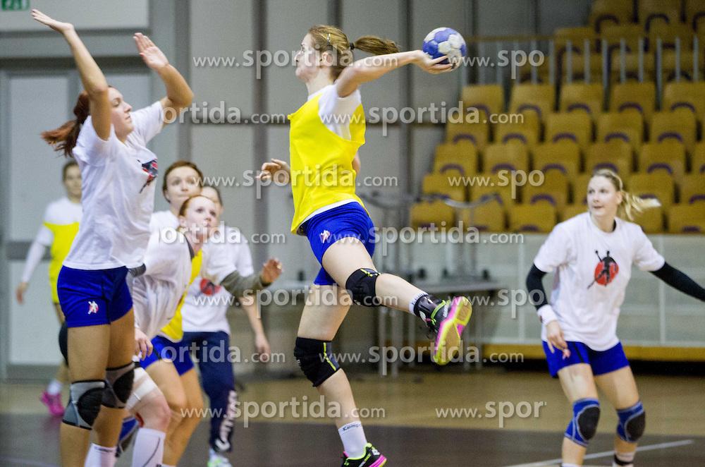 Ana Gros during practice session of Slovenian Women handball National Team three days before match against Serbia, on October 24, 2013 in Arena Tivoli, Ljubljana, Slovenia. (Photo by Vid Ponikvar / Sportida)