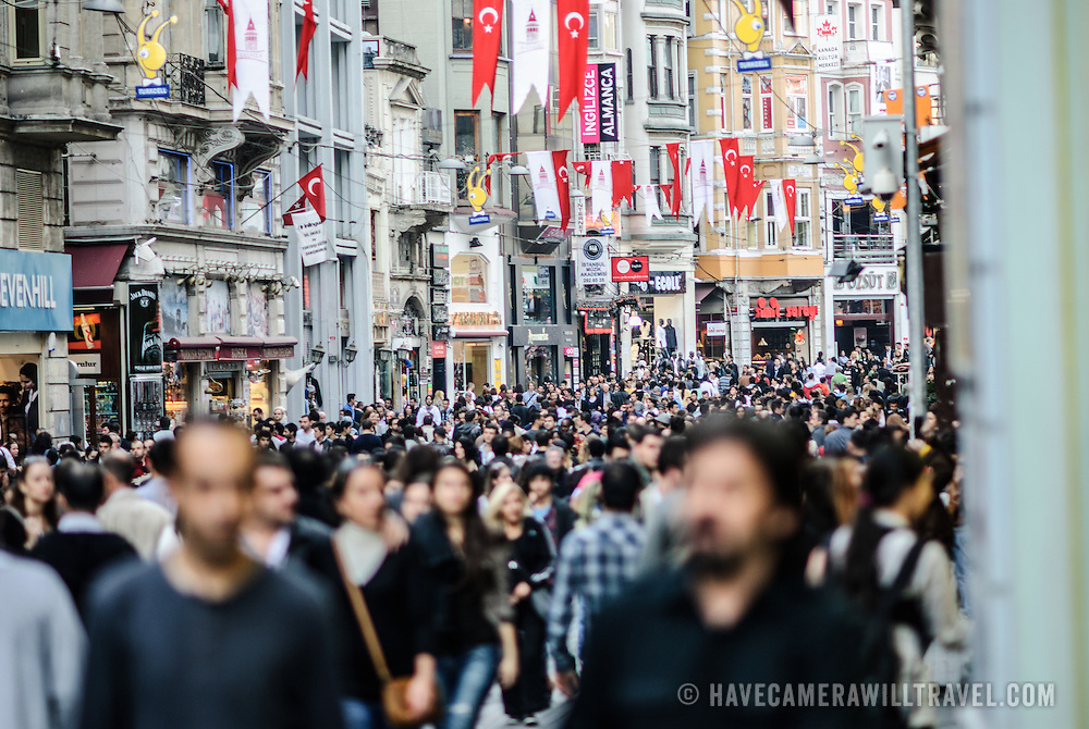 Crowds in the main shopping district of Beyoglu in Istanbul, Turkey.