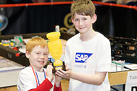 A team of 9 from county Galway were triumphant in Galway at the weekend as they were named Irish champions at the FIRST LEGO League 2012, sponsored by SAP. The theme for this year's competition was food safety. Cian Roche and Kevin McAndrew  from County Galway were on the winning team the Termin8tors qualifying them for a place in the European finals which will take place in Germany in June. .. Photo:Andrew Downes
