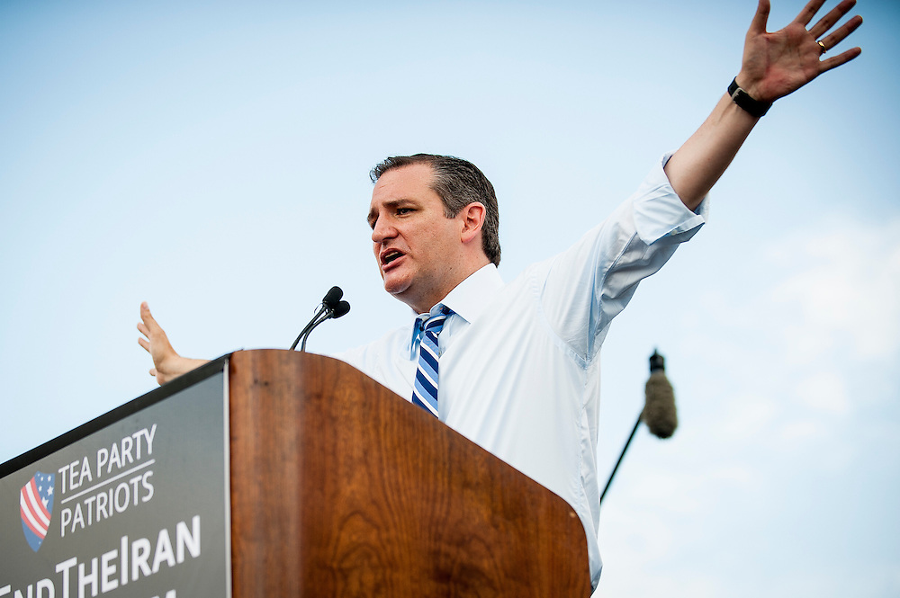 Senator and Republican Presidential Candidate Ted Cruz (R-TX) speaks out against President Obama's nuclear deal with Iran during a protest event sponsored by they activist group Tea Party Patriots in Washington, District of Columbia, U.S., on Wednesday, Sept. 9, 2015. Republicans have condemned the agreement, saying it will not prevent Iran from obtaining nuclear weapons.