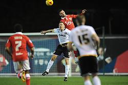 Bristol City's Derrick Williams challenges for the header with Port Vale's Tom Pope - Photo mandatory by-line: Dougie Allward/JMP - Mobile: 07966 386802 - 10/02/2015 - SPORT - Football - Bristol - Ashton Gate - Bristol City v Port Vale - Sky Bet League One