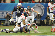 Ole Miss running back I'Tavius Mathers (5) vs. TCU Horned Frogs safety Derrick Kindred (26) in the Peach Bowl, in Atlanta, Ga. on Wednesday, December 31, 2014.