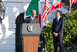 October 18, 2016 - Washington, DC, United States - On the South Lawn  of the White House in Washington, D.C., U.S., on Tuesday, Oct. 18, 2016., (l-r), President Barack Obama speaks, with Italian Prime Minister Matteo Renzi by his side, during the ceremony at the Official State Visit. This was the last Official State Visit for the Obama administration. (Credit Image: © Cheriss May/NurPhoto via ZUMA Press)