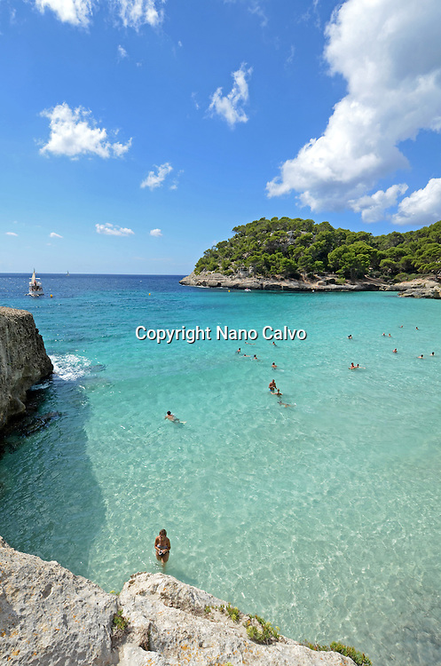 Cala Macarella, popular beach on the south of Menorca
