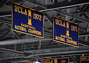 Nov 15, 2017; Los Angeles, CA, USA; General overall view of NCAA Championship banners from 1971 and 1972 won by the UCLA Bruins on display during a NCAA basketball against the Central Arkansas Bears at Pauley Pavilion.