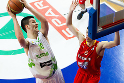 Alen Omic of Slovenia vs Alejandro Suarez of Spain during basketball match between National teams of Slovenia and Spain in Qualifying Round of U20 Men European Championship Slovenia 2012, on July 18, 2012 in Domzale, Slovenia. (Photo by Vid Ponikvar / Sportida.com)