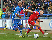 Calvin Andrew & James Wilson during the Sky Bet League 1 match between Rochdale and Oldham Athletic at Spotland, Rochdale, England on 24 October 2015. Photo by Daniel Youngs.