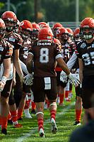 KELOWNA, CANADA - SEPTEMBER 16: Wide receiver Kian Ishani #8 of the Okanagan Sun runs to the field against the Vancouver Island Raiders on September 16, 2018, at the Apple Bowl, in Kelowna, British Columbia, Canada.  (Photo by Marissa Baecker/Shoot the Breeze)  *** Local Caption ***