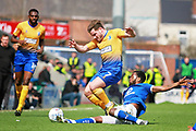 Mansfield Town midfielder Alex MacDonald (7) is fouled during the EFL Sky Bet League 2 match between Chesterfield and Mansfield Town at the Proact stadium, Chesterfield, England on 14 A pril 2018. Picture by Nigel Cole.