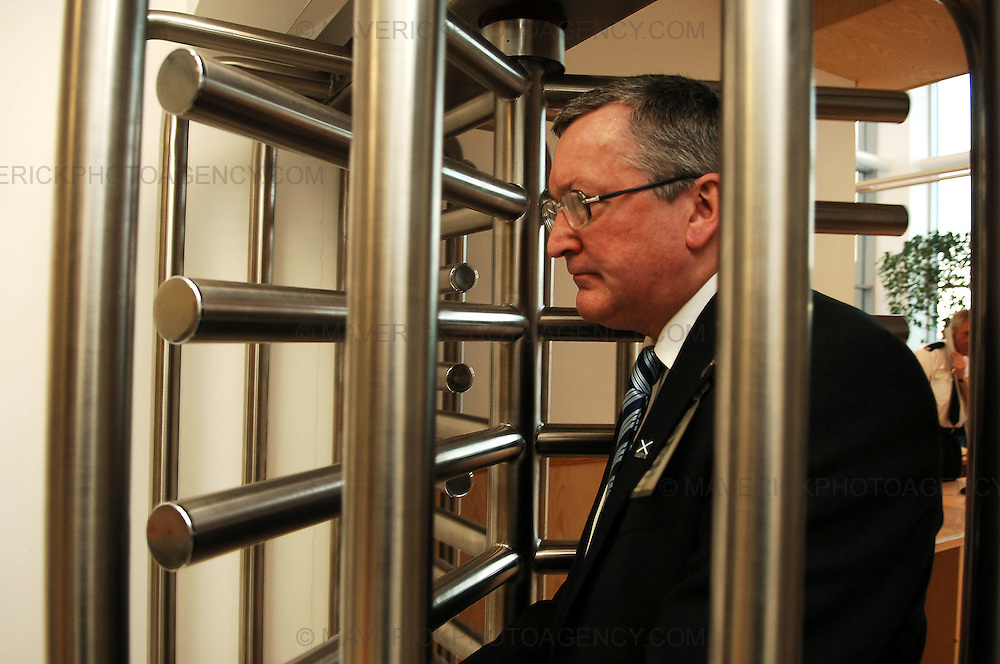 A legal ban on mobile phones in Scottish jails comes into force today helping staff and police to tackle the trade in illicit drugs both inside and outwith prisons, the Minister for Community safety has said...Fergus Ewing confirmed the new offence was now in place during a visit to HM Prison Edinburgh, where he viewed a range of security and screening measures, including the 'walk-through' metal detectors in the new entrance area...Pic shows Minister for Community Safety Fergus Ewing at HM Prison Edinburgh