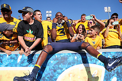 Oct 14, 2017; Morgantown, WV, USA; West Virginia Mountaineers quarterback David Isreal (3) celebrates with fans after beating the Texas Tech Red Raiders at Milan Puskar Stadium. Mandatory Credit: Ben Queen-USA TODAY Sports