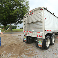 Tony Campbell rolls back the cover to trailer before the soybeans arrives to be off loaded and transported to Alabama.