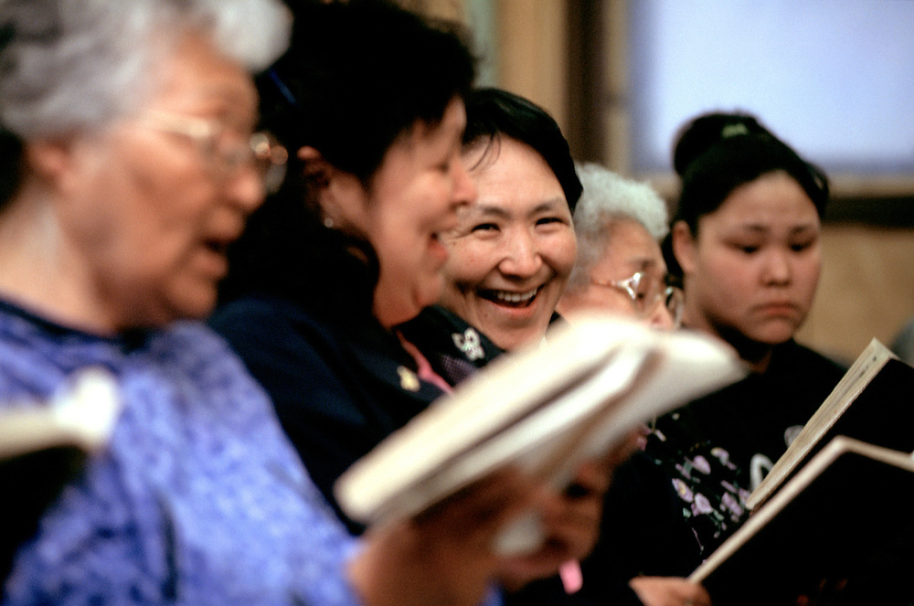 After the service in I&ntilde;upiaq, a singspiration goes on every Sunday night at the Presbiterian Church. <br /> <br /> May 18, 21:52