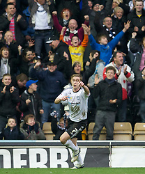 DERBY, ENGLAND - Saturday, March 12, 2011: Derby County's Steve Davies celebrates scoring the second goal against Swansea City during the Football League Championship match at Pride Park. (Photo by David Rawcliffe/Propaganda)