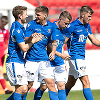 St Johnstone v Queen of the South….26.08.19      McDiarmid Park     Reserve League Cup<br />Ross Callachan celebrates his goal with David Wotherspoon<br />Picture by Graeme Hart. <br />Copyright Perthshire Picture Agency<br />Tel: 01738 623350  Mobile: 07990 594431