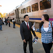 October 17, 2014 - Westwood, N.J. : Democrat Roy Cho, center, greets a commuter as he campaigns at the Westwood NJ Transit station on Friday morning. A candidate for Congress from NJ's 5th District, Cho is challenging Rep. Scott Garrett in the upcoming November elections. CREDIT: Karsten Moran for The New York Times