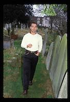 Actor Jean-Marc Barr (The Big blue) photographed in 1989 in Hampstead cemetery. Kodachrome<br /> L'acteur Jean-Marc Barr est connu pour son r&ocirc;le dans Le grand bleu de Luc Besson dans lequel il incarnait Jacques Mayol.