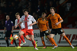 Stevenage's midfielder John Mousinho runs with the ball  - Photo mandatory by-line: Mitchell Gunn/JMP - Tel: Mobile: 07966 386802 01/04/2014 - SPORT - FOOTBALL - Broadhall Way - Stevenage - Stevenage v Wolverhampton Wanderers - League One