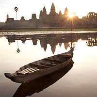 Angkor Wat, UNESCO heritage site, at dawn. Siem Reap, Cambodia