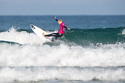 Olympic prospect Peony Knight (UK) progressing to the next round during the 2019 Boardmasters Roxy Pro Surf Competition, WSL Qualifier at Fistral Beach, Newquay, Cornwall on 8 August 2019.