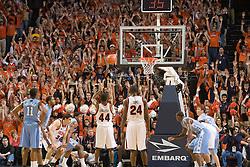 Virginia guard Sean Singletary (44) shoots a free throw against UNC.  The Virginia Cavaliers men's basketball team faced the #3 ranked North Carolina Tar Heels  at the John Paul Jones Arena in Charlottesville, VA on February 12, 2008.