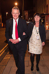 © Licensed to London News Pictures . 29/09/2015 . Brighton , UK . HILARY BENN (l) on the street late this evening (Tuesday 29th September) in Brighton after attending a party at Revolution Bar on West Street . Photo credit : Joel Goodman/LNP