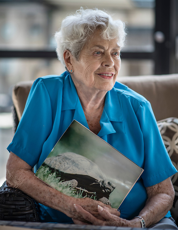 rer072617c/metro/July 26, 2017/Albuquerque Journal<br /> Diablo, a 115 year old tortoise belonging to Millie Tjeltweed(Cq) has gone missing somewhere at Manzano Del Sol Village living facility.  Pictured is Millie holding a portrait of Diablo. <br /> Albuquerque, New Mexico Roberto E. Rosales/Albuquerque Journal