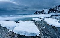 Is og vinter ved okshornan på Senja, Berg, Troms.<br /> <br /> Okshornan mountains on the island of Senja in Troms, Norway. January.