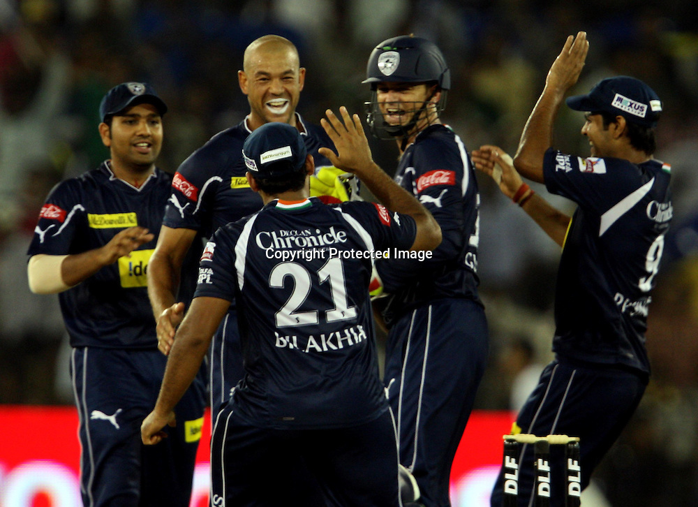 Deccan Chargers Andrew Symonds Celebrates With Team Mates Amit Misra Wicket During The Indian Premier League - 15th match Twenty20 match 2009/10 season Played at Barabati Stadium, Cuttack 21 March 2010 - day/night (20-over match)