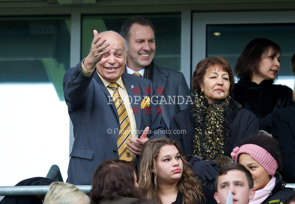 HULL, ENGLAND - Sunday, December 1, 2013: Hull City's owner Assem Allam during the Premiership match against Liverpool at the KC Stadium. (Pic by David Rawcliffe/Propaganda)