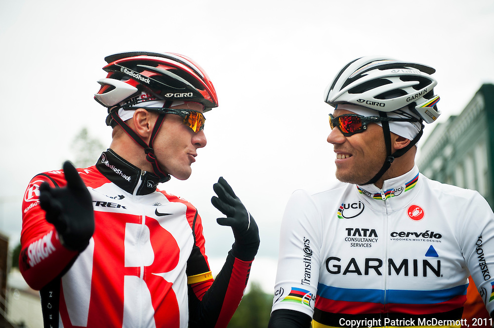 From left, Levi Leipheimer of the United States and World Champion Thor Hushovd of Norway speak at the start line during stage two of the 2011 AMGEN Tour of California from Nevada City to Sacramento in Nevada City, Calif. on Monday, May 16, 2011.