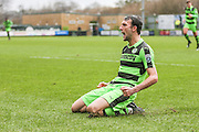 Forest Green Rovers Christian Doidge(9) scores a goal and celebrates 1-0 during the Vanarama National League match between Forest Green Rovers and Macclesfield Town at the New Lawn, Forest Green, United Kingdom on 4 March 2017. Photo by Shane Healey.