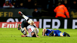Jacob Butterfield of Derby County and Andy King of Leicester City lie on the floor after a collision - Mandatory by-line: Robbie Stephenson/JMP - 08/02/2017 - FOOTBALL - King Power Stadium - Leicester, England - Leicester City v Derby County - Emirates FA Cup fourth round replay